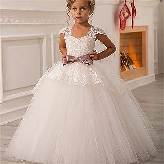 子供の女の子のドレス ミスレースバックフラワーガールドレス、子供かわいい背中が大きく開いドレス幼児パーティーチュールチュチュドレス用女の赤ちゃんドレス 女の子のパーティーウェディングブライドメイドの王女のドレス (サイズ : 12-13T)
