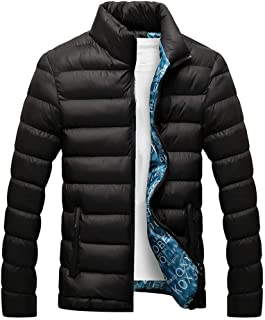bismarckber Men Winter Lightweight Soft Down Jacket Stand Collar Thick Cotton Padded Coat Slim Warm Outdoor Puffer Outwear...