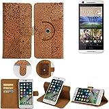 K-S-Trade Schutz Hülle Für HTC Desire 620G Dual SIM Handyhülle Kork Handy Tasche Korkhülle Schutzhülle Handytasche Wallet Hülle Walletcase Flip Cover Smartphone Handyhülle