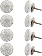 Indian-Shelf Handmade Ceramic Daisy Flower Cabinet Knobs Flat Door Pulls Furniture Handles(Grey, 1.5 Inches)-Pack of 8