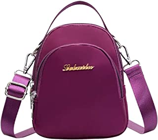 Travel Essential, Stylish and Durable Plaid Nylon Backpack 18x15x7cm (Color : Purple, Size : 18x15x7cm)