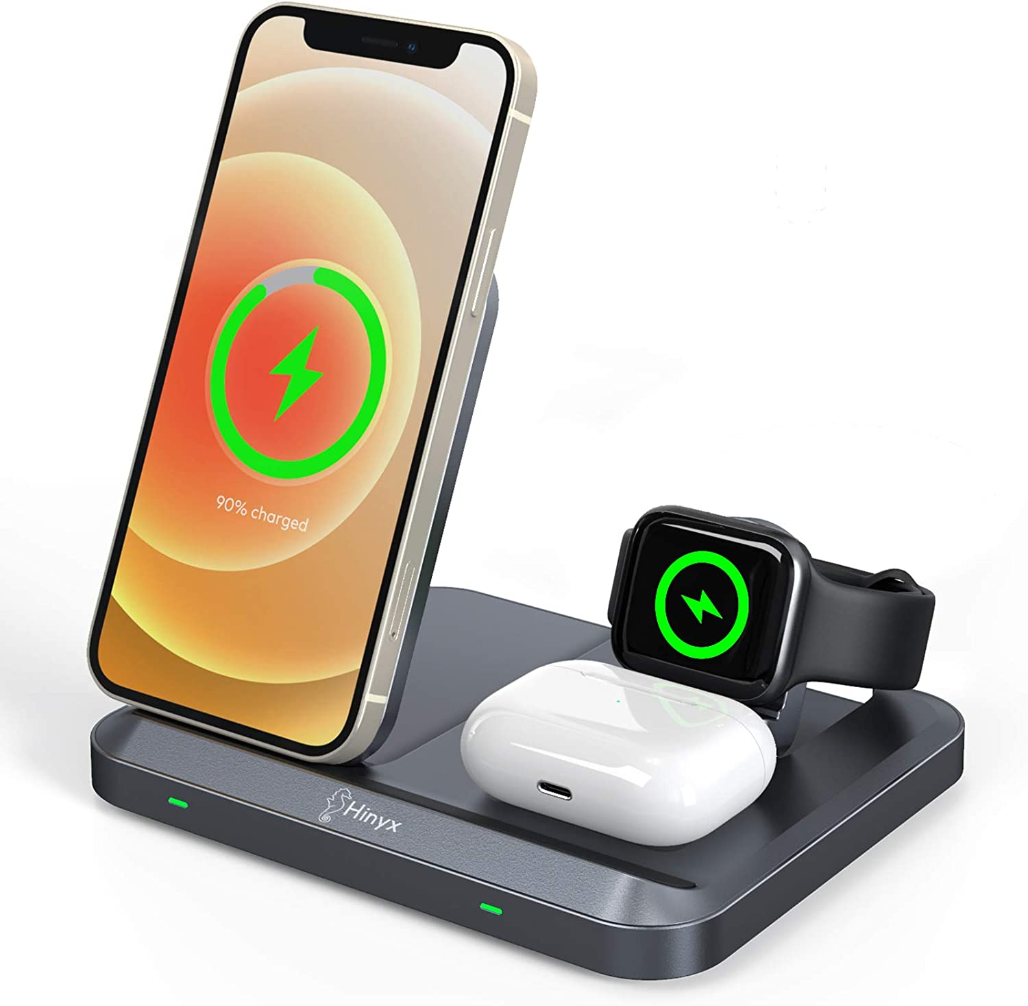 Foldable Wireless Charging Pad for iPhone 12//12 Pro//12 Mini//11//XS//XR//X//8,Galaxy S20//S10// Note 10 Hinyx 3 in 1 Wireless Charger Stand,Wireless Charging Station for iWatch SE//6//5//4//3//2 /& Airpods Pro//2
