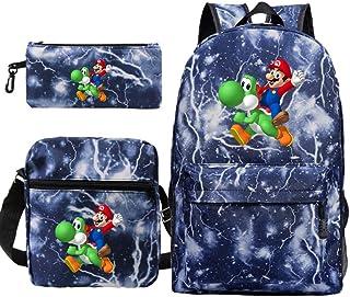 Sacs d'école pour Enfants, Sacs à Dos d'impression Super Mario Bros, Sacs à bandoulière Décontractés Garçons Sac Quotidien...