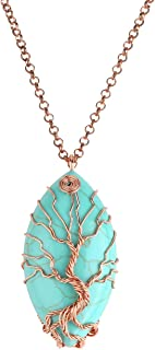 Jovivi Vintage Teardrop/Heart Natural Gemstones Healing Crystal Stone Necklace Wire Wrapped Copper Tree of Life Chakra Pendant, Mothers Gifts
