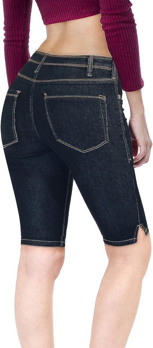 Hybrid & Company Women's 11.5 inch Inseam Stretchy Denim Bermuda City Short