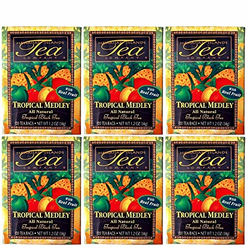 Hawaiian Islands Tropical Fruit Medley Black Tea, All Natural - 20 Teabags Per box (120 Tea Bags (Pack of 6))
