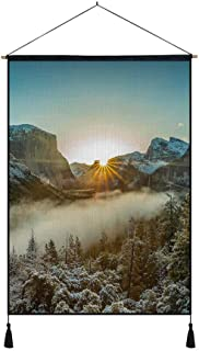KaoHun Winter Morning Fog Trees Snow Sun Rays Mountains - Art Print on Canvas Wall Hanging Poster Home Wall Decoration Poster Painting (20x28inch)
