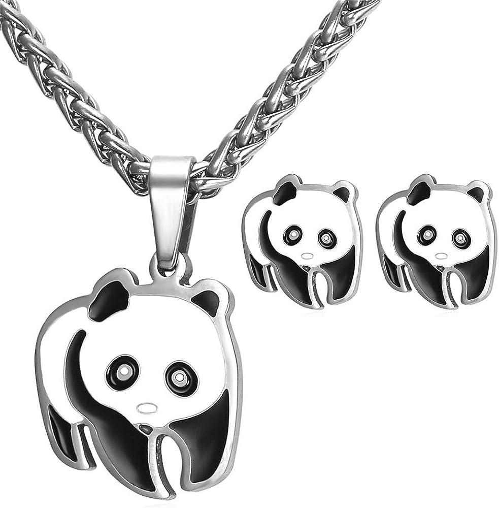 20. Cute Panda Bear Pendant Necklace Earrings Set for Women/Girls