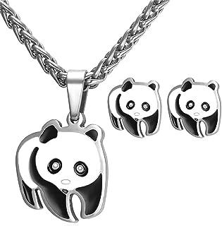 Women Teen Girls Cute Panda Bear Pendant Necklace Earrings Set - Stainless Steel/18K Gold Plated
