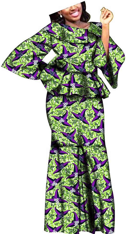 RealWax African Dresses for Women 2 Piece Suits top+Skirt Kitenge Traditional Wax Girls Ankara