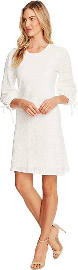 3/4 Sleeve Seersucker Lace Dress with Ties