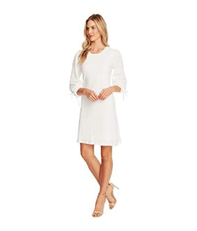 CeCe 3/4 Sleeve Seersucker Lace Dress with Ties (Soft Ecru) Women