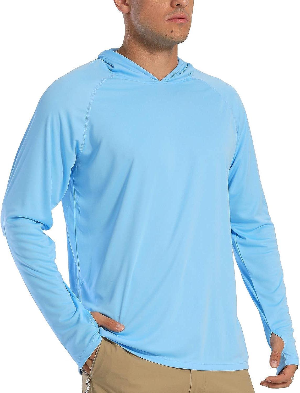 FASKUNOIE Men's Long Sleeve UPF 50+ Lightweight Hoodies Sun Protection SPF Rashguard Shirts Fishing Running