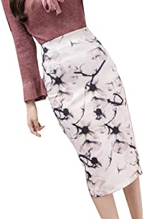 XINHEO Women's Midi Dress Floral Print Summer Slim Split Bodycon Skirt