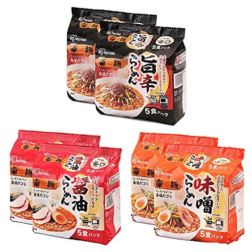 アイリスオーヤマ ラーメン 豪麺 食べ比べセット 3種 (醤油、味噌、旨辛) 各10食セット (計30食) レンジ調理可