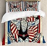 Juego de funda de edredón de circo, diseño de tatuajes y músculos, diseño de estrellas con texto en inglés 'Nostalgic The Strong Man' con 2 almohadas, California King, color beige y rojo