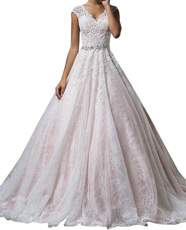 LISA.MOON Women's V Neck A Line Lace Applique Cap Sleeve Sheer Back Bridal Dress