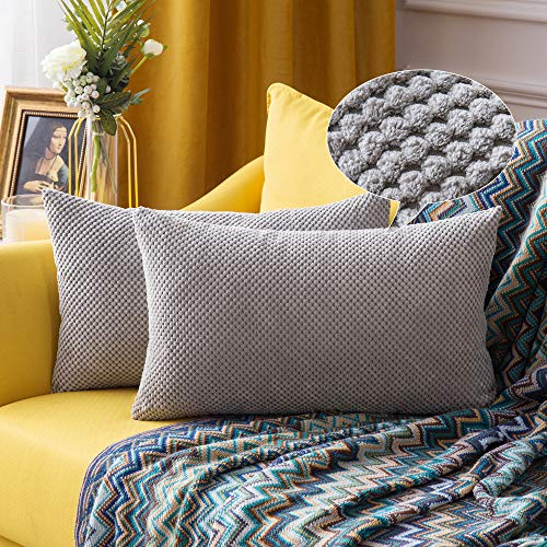 MIULEE 2er Set Granulat Kissenbezug Ananas Weiches Massiv Dekorativen Quadratisch Überwurf Kissenbezüge Kissen für Sofa Schlafzimmer 12