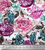 Soimoi Rosa Seide Stoff Papagei, Granatapfel & Rose Blume