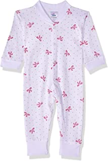Papillon Dotted Bow Print Long Sleeves Snap Closure Cotton Jumpsuit for Girls 3-6 Months