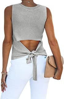 Imily Bela Womens Summer High Neck Open Back Tank Tops Cute Hollow Out Sweater Vest