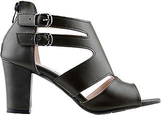 Ayakland 811-51 Günlük 7 Cm Topuklu Bayan Cilt Sandalet Ayakkabı YEŞİL