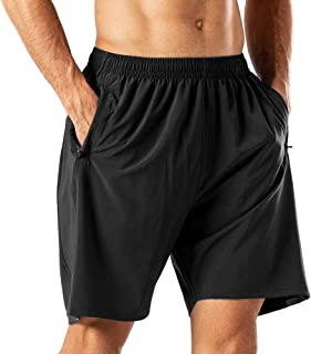 sandbank Men's Casual Sports Quick Dry Workout Running or Gym Training Short with Zipper Pockets