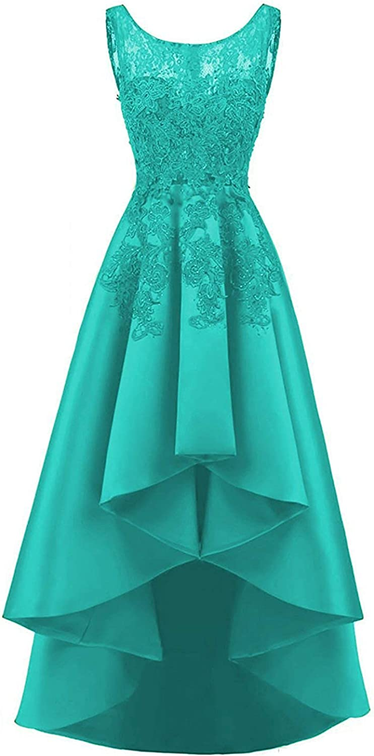 20KyleBird Women's Satin Beaded Lace Appliques High Low Dresses ALine Sleeveless Prom Evening Party Formal Gowns