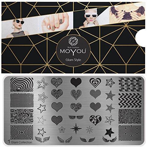MoYou's XL Glam 1 Stamping Schablone, Nail Art Stampling - Nagel Lack Stempel, Herzen, Sterne Maniküre