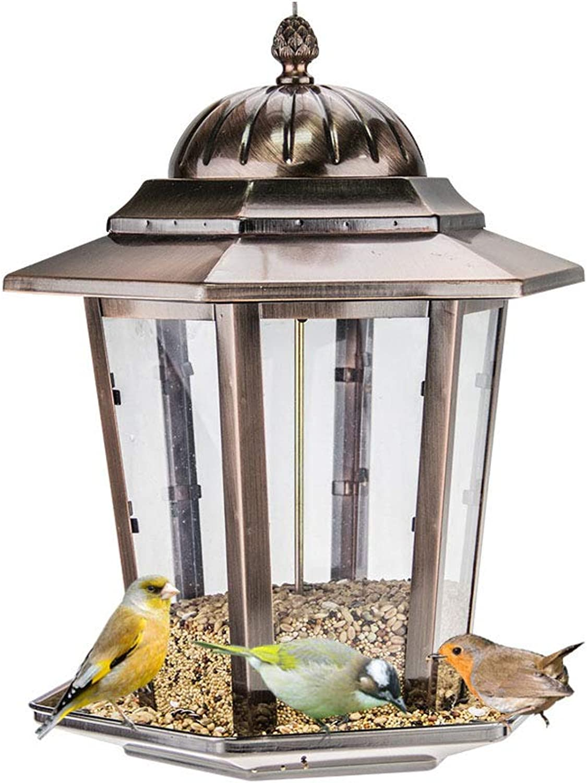 0 ℃ Outdoor Copper Panorama Bird Feeder,Hanging Wild Bird Feeder for the Garden,Anti Squirrel & Holds 1100g of Seed
