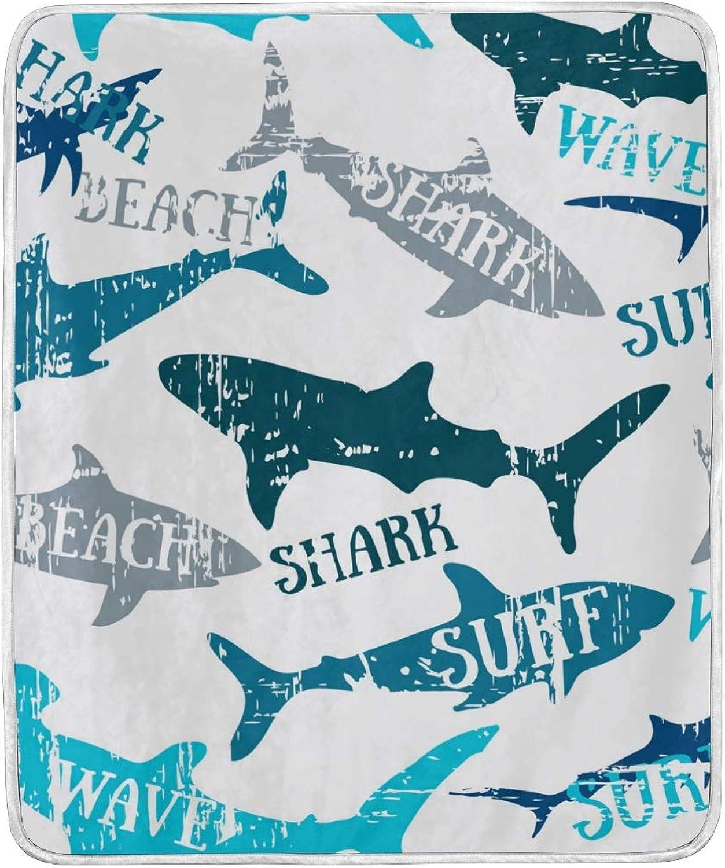 Hello Summer Shark Ocean Sea Beach Throw Blanket Soft Nap Couch Bed Blankets Kid Boy Girl Women Men 50x60 inch