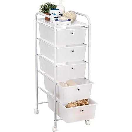 IDIMEX Caisson sur roulettes GINA Chariot avec 5 tiroirs en Plastique Blanc Transparent et 1 étagère, Meuble de Rangement pour Salle de Bain en métal laqué Blanc