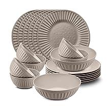 Urban Chef Unbreakable Melamine Earthy Grey Microwave Safe Dinner Set (Pack of 20 Pcs) 100 % Food Grade Melamine Set