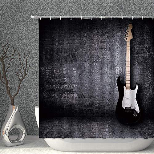 Lievevt Shower Curtains Musik Duschvorhang E-Gitarre Musikinstrument Vintage Schwarz Wanddekor Gewebe Badezimmer Gardinen, 70x70 Zoll Wasserdichter Polyester mit 12 stücke Haken (Color : 70x70 Inch)