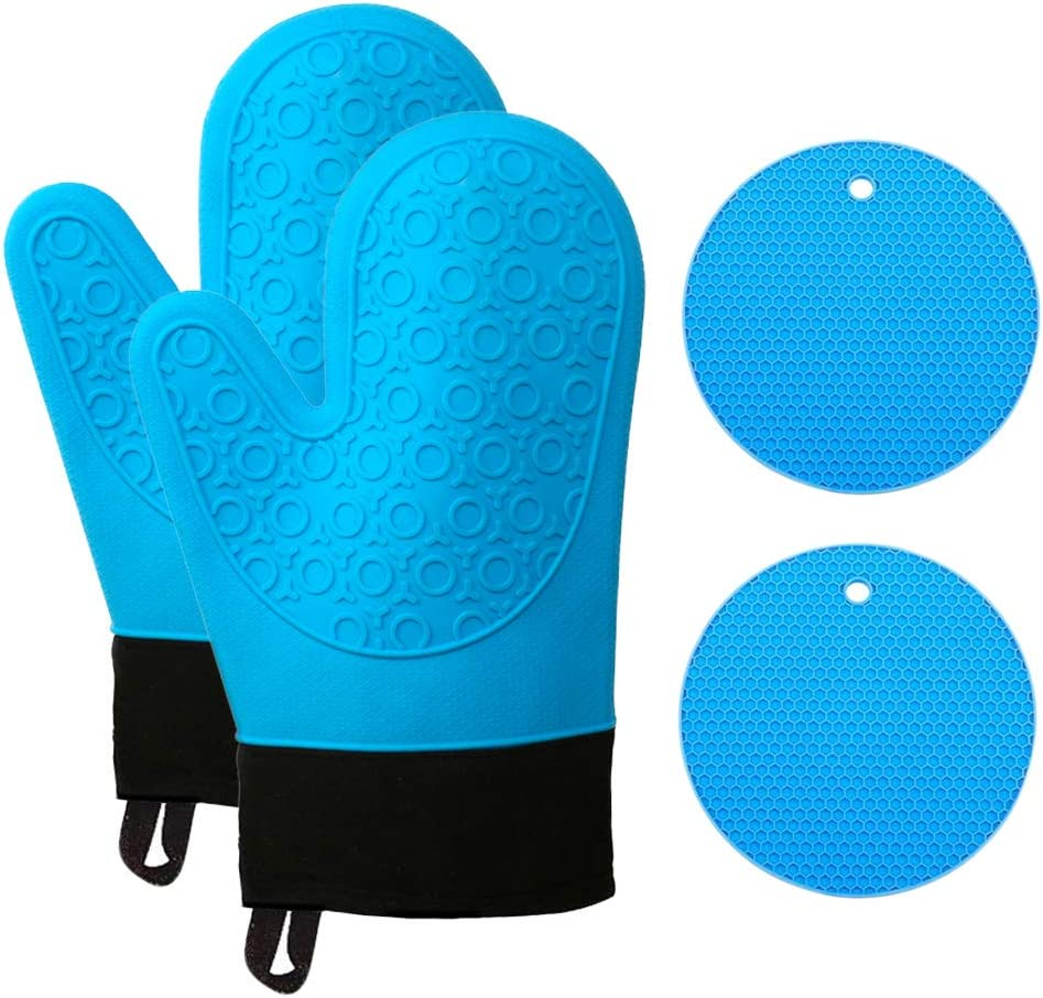 Silicone Oven Mitts Pair and Pot Holders Heat Resistant for Baking Cooking BLUE Non-Slip Double-Layer Silione Oven Gloves With Soft Cotton Inner Lining Pot Holders Trivet Mats for Kitchen Microwave