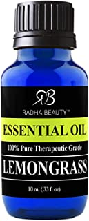 Sponsored Ad - Radha Beauty - Lemongrass Essential Oil 10ml 100% Pure & Natural Therapeutic Grade Aromatherapy Oil for Dif...