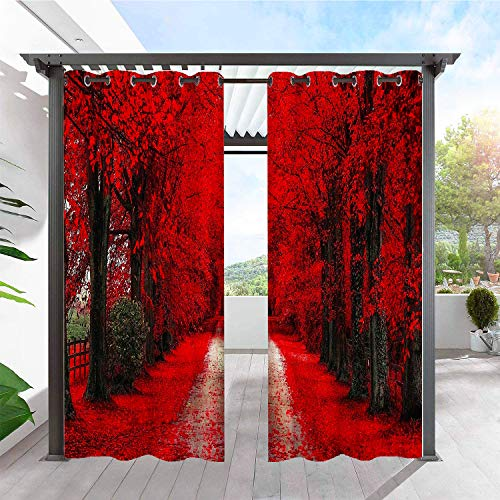 ANHOPE Waterproof Indoor/Outdoor Curtains for Patio/Bedroom/Pergola/Deck/Gazebo/Porch/Cabana, Grommet Privacy Curtain with Autumn Red Maple Leaf Natural Landscape Pattern, 2 Panels, 78 X 84 Inch