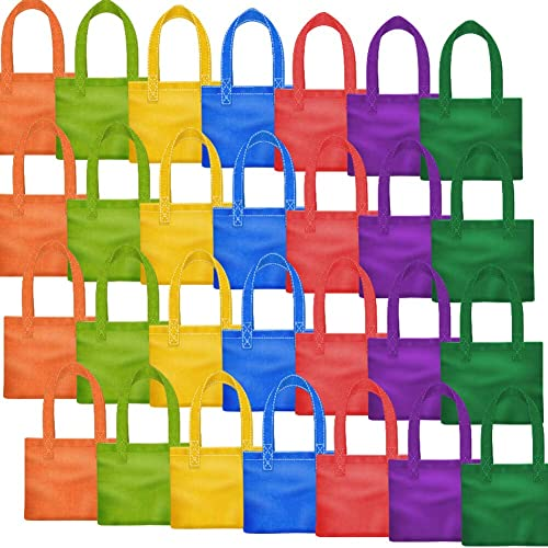 PAXCOO 28 Packs 7 Colors Party Favor Tote Gift Bags Non Woven Goodie Treat