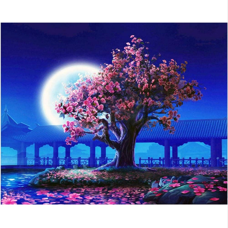 CZYYOU DIY Digital Digital Digital Malen Nach Zahlen Pfirsichblüte Mond Ölgemälde Wandbild Kits Farbeing Wandkunst Bild Geschenk - Mit Rahmen - 40x50cm B07Q1ND196   Qualitätsprodukte  c816d3