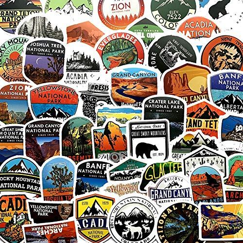 BLOUR 50Pcs National Park Zoo Icon Cartoon Aufkleber für Koffer Skateboard Laptop Gepäck Kühlschrank Kühlschrank Auto Auto Styling Aufkleber Aufkleber