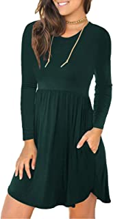 Women's Long Sleeve Dresses Swing T Shirt Dress Basic Casual with Pockets