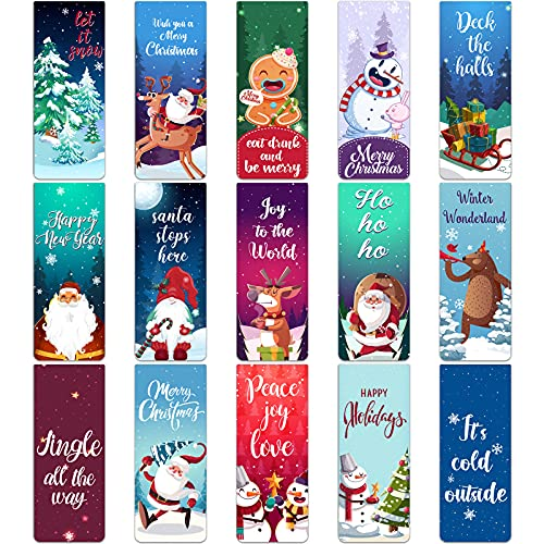 30 Pieces Christmas Bookmarks Xmas Magnet Page Clips Magnetic Bookmarks with Snowman Christmas Trees Santa for Children Students Home Office School Stationery Presents, 5 x 0.8 Inch