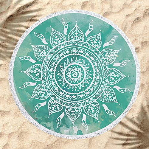 JTRHD Toalla de Playa Sin Arena Poliéster Impresa Tapicería De La Pared Redonda Toalla Toalla De Playa Mantel Estera De Yoga Chal De Ocio Alfombra De Picnic Viaje Vacaciones Nadar