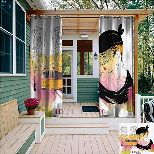 Fashion House Decor Premium Blackout Outdoor Curtains Lady Posing in Front of Tramway Sketch Retro Romance Aesthetics Outdoor Drape for Pergola/Porch, Tan Yellow Purple W108 x L84 Inch