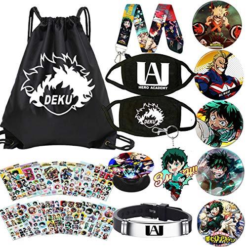 My Hero Academia Bolsa de regalo bolsa + pulsera + llavero+botón+soporte para teléfono+pegatinas, póster o funda de almohada o collar - - talla única