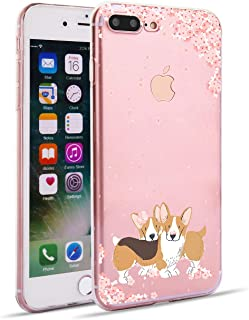 iPhone 8 Plus iPhone 7 Plus Case Watercolor Floral Clear Soft TPU Slim Flexible Shockproof Phone Cases for Women Girls-Funny Dog Light Pink Rose[5.5