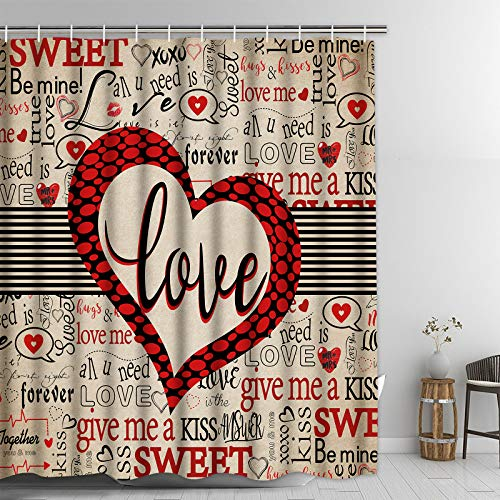 """Mother's Day Personalized Shower Curtain, Love Bathroom Shower Curtain, Romantic Heart Shower Curtains with 12 Hooks for Bathroom, Waterproof Fabric Bath Shower Curtain, 69"""" x 70"""" Mother's Gift"""
