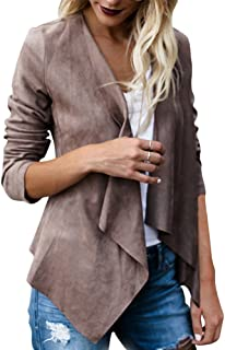 Women's Long Sleeve Faux Suede Cardigan Solid Waterfall Collar Open Front Short Jacket