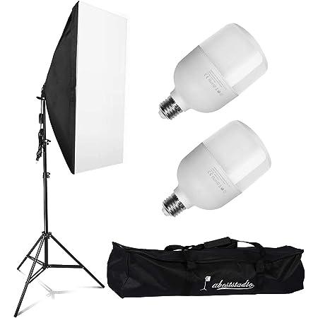 Abeststudio 2x 25W LED連続照明キット撮影用 50x70cmソフトボックスソフトボックス 写真スタジオ E27型 5500K ソフトボックスキット+2Mに調整可能なアルミニウム合金ライトスタンド+ ャリングバッグ付き