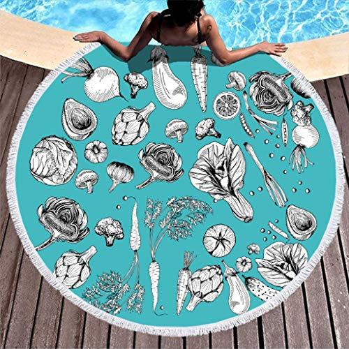 Wmeyiseyiy Toalla de playa grande y redonda, suave, de microfibra, para dos personas, color blanco, 150 cm